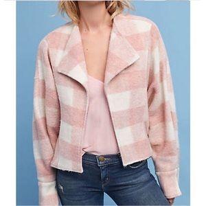 NWOT Anthropologie Pink Plaid Cardigan Jacket